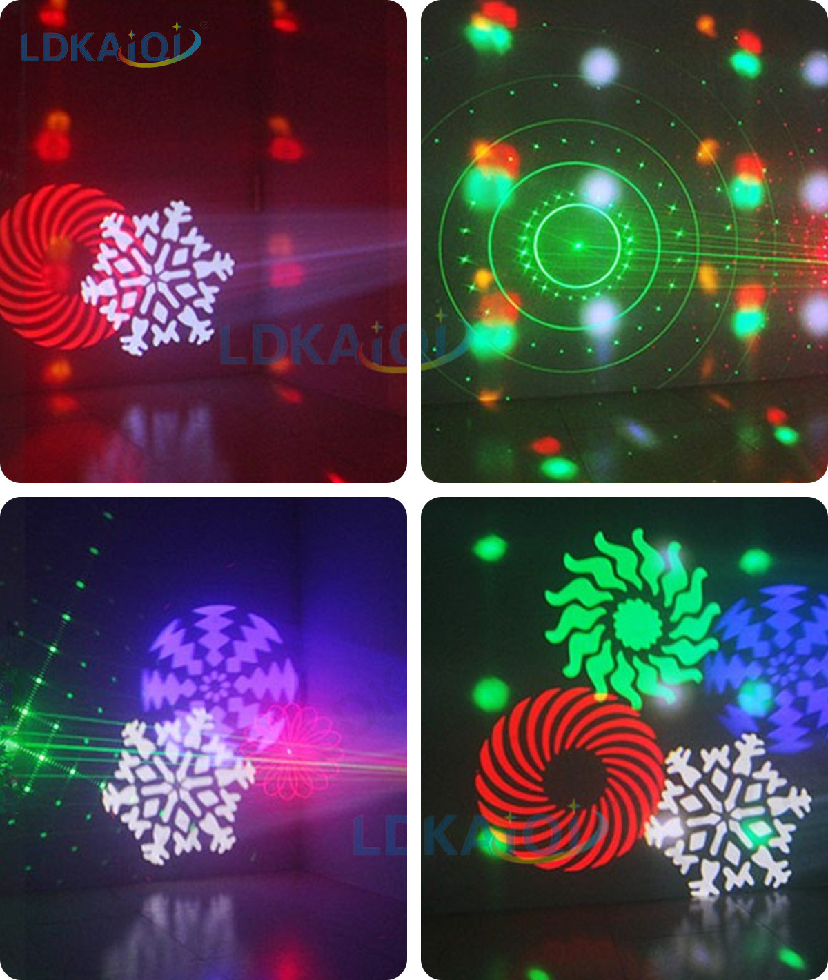 Led & Laser & Strobe &Gobos Lights 4in1 Effect Party Strobe Light(图2)
