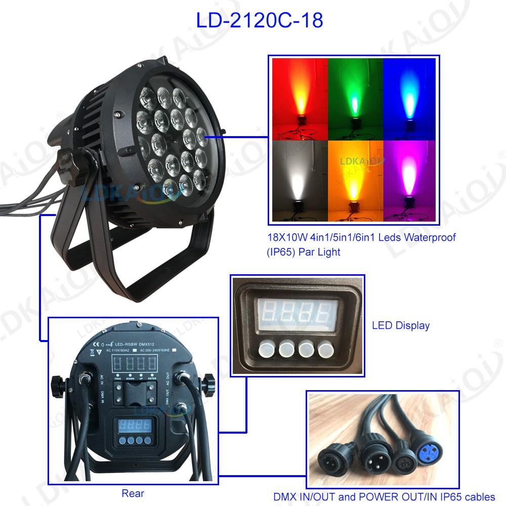 Led Waterproof Par Lighting 18X10W 4in1/5in1/6in1(图1)
